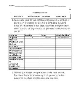 PREFIJO  - prefix spanish practice worksheet