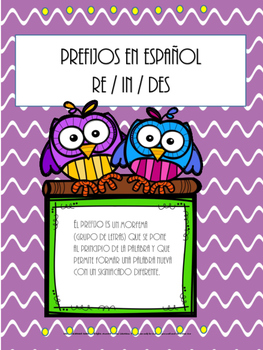 PREFIXES (PREFIJOS) SPANISH MATERIAL