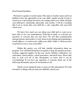 PREK Welcome letter