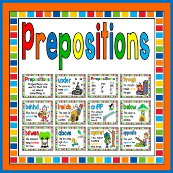 PREPOSITIONS POSTERS - DISPLAY LITERACY ENGLISH EARLY YEAR