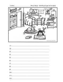 PREPOSITIONS SPANISH BEDROOM SCENE 1 PAGE