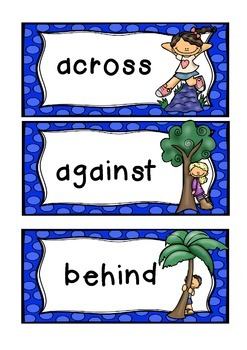 PREPOSITIONS theme topic words WORD WALL vocabulary flash cards