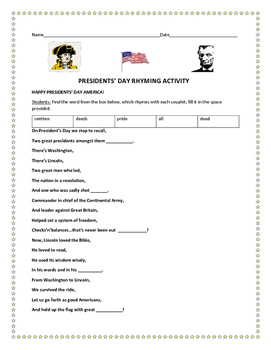 PRESIDENTS' DAY RHYMING ACTIVITY-GRADES 3-6