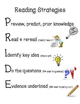 PRIDE - Reading Strategy Acronym