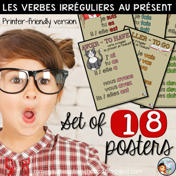 PRINTER-FRIENDLY FRENCH IRREGULAR VERB POSTERS - LE PRÉSENT