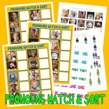 PRONOUNS MATCH & SORT w/ 60 PeCs PictUrE CaRdS DiGiTaL DoW
