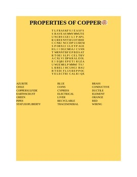 PROPERTIES OF COPPER WORD SEARCH