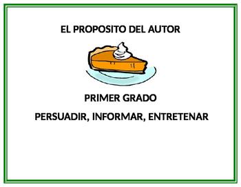 PROPOSITO DEL AUTOR Author's Purpose Spanish Persuadir, In
