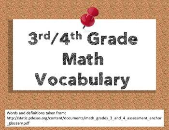 PSSA math vocabulary posters grades 3/4
