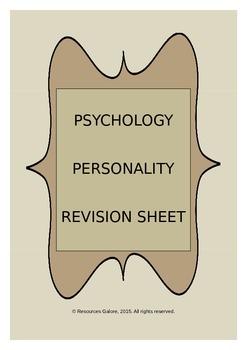 PSYCHOLOGY: Personality Revision Sheet