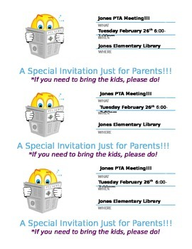 PTA meeting invite