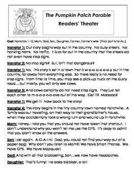 PUMPKIN Readers' Theater Packet! (Pumpkin Parable & Spookl