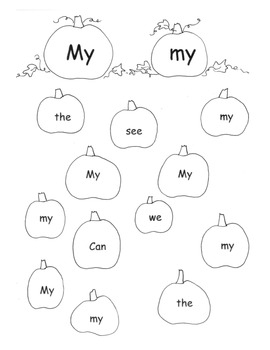 PUMPKIN Sight Words Practice Sheets 14 pages Printable Cen