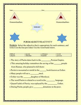 PURIM ADJECTIVE ACTIVITY/ GRADES 3-6