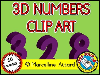 3D NUMBERS CLIPART: PURPLE SOLID SHAPES CLIPART NUMBERS: M