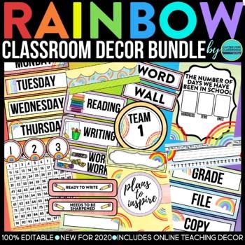 PURPLE & BLACK Classroom Decor-EDITABLE Clutter-Free Class