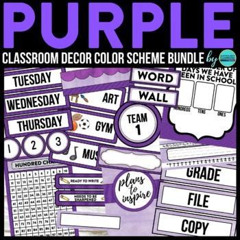 PURPLE MODERN PATTERN Classroom Decor - EDITABLE Clutter-F
