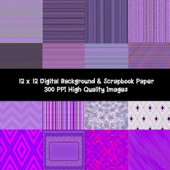 PURPLE PARADISE DIGITAL PAPER- BACKGROUND- SCRAPBOOK