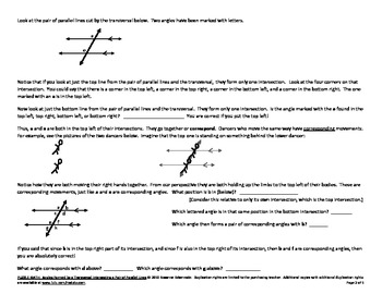 PUZZLE MATH: Angles Formed by a Transversal Intersecting P