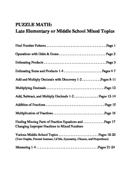 PUZZLE MATH: Mixed Topics for Late Elementary and Middle S