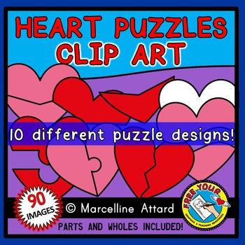 HEART PUZZLES CLIPART BUNDLE: HEARTS CLIPART TEMPLATES: VA