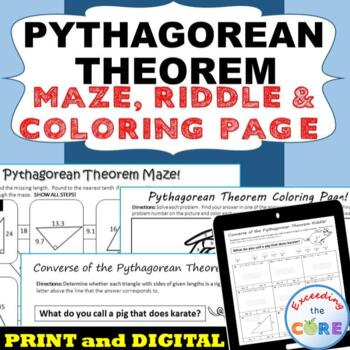 PYTHAGOREAN THEOREM Maze, Riddle, & Coloring Page (Fun MAT