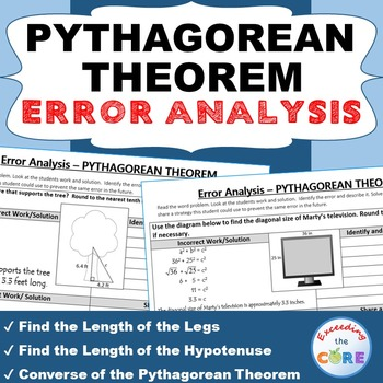 PYTHAGOREAN THEOREM Word Problems -  Error Analysis  (Find