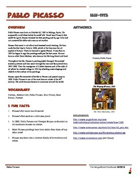 Pablo Picasso Informational Worksheet
