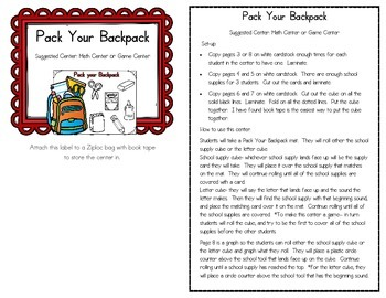 Pack Your Backpack FREEBIE