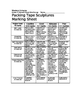 Packing Tape Sculptures Marking Sheet