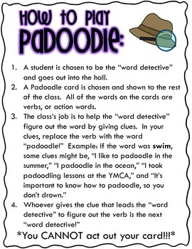 Padoodle Game Cards and Directions