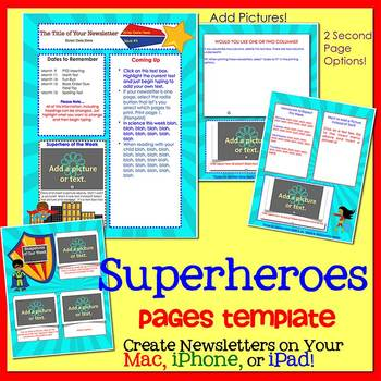 Pages - SUPERHEROES - Newsletter Template - for iPads, iPh