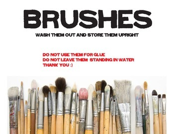 Paint Brushes Sign for classroom
