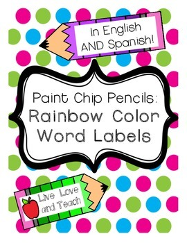 Color Word Labels in English and Spanish - FREEBIE