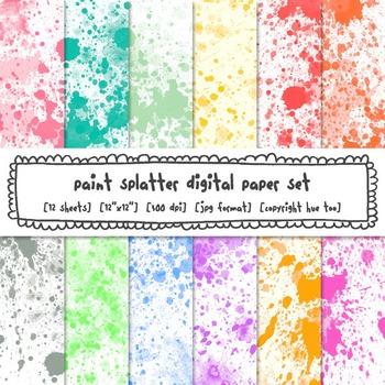 Paint Splatter Watercolor Digital Paper, Rainbow Bright Co
