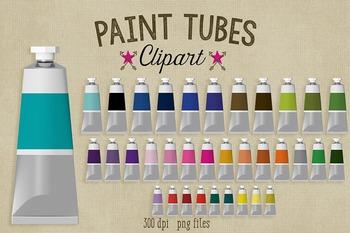 Paint Tube Clipart, 35 Realistic Colorful Paint Tubes