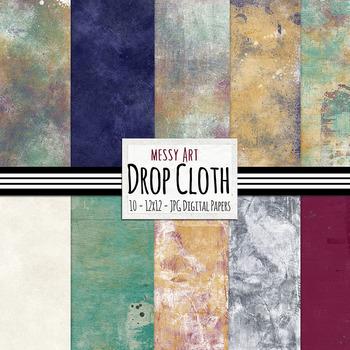 Painted - Messy Canvas Digital Paper - Drop Cloth - Art Di
