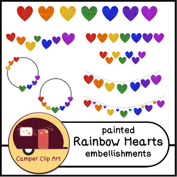 Painted Rainbow Hearts Embellishments, Bunting {CU - Comme