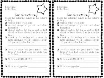 Pair Share Writers Workshop Worksheet