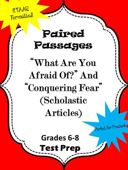 """Paired Passages """"What Are You Afraid Of?"""" and """"Conquering Fear"""""""