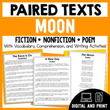 Paired Texts - The Moon - Passages, Vocabulary, and Compre