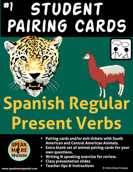 Pairing / Task Cards with Animal Theme *Spanish Regular Pr