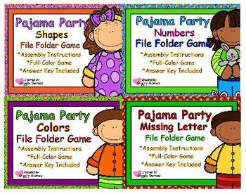 Pajama Party Basic Skills File Folder Game Set