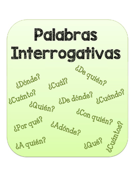 Palabras Interrogativas. Question Words Packet.
