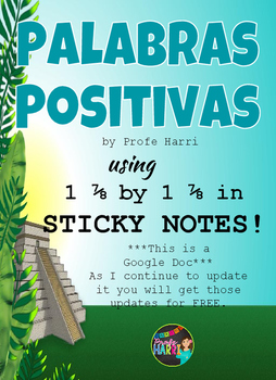 Palabras Positivas for SMALL (1 7/8x1 7/8in) Sticky Notes