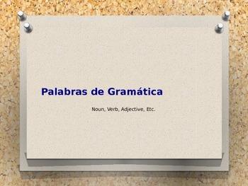 Palabras de Gramática (Grammar Terms) PowerPoint Notes