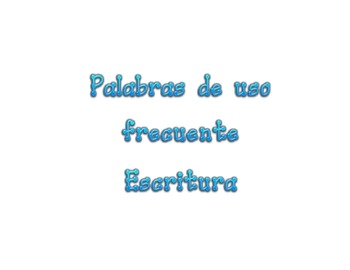 Spanish High Frequency Word for Handwriting
