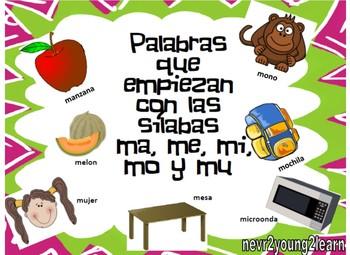 Palabras que empiezan con las silabas ma, me, mi, mo y mu