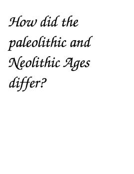 Paleolithic and Neolithic essay