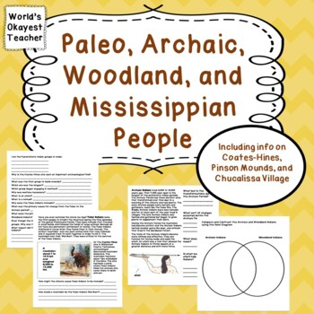 Paleo, Archaic, Woodland, Mississippian Indians
